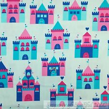 BonEful Fabric FQ Cotton Quilt VTG Blue Pink Princess Fairy Girl Castle Boutique
