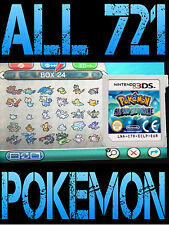 GENUINE POKEMON ALPHA SAPPHIRE ALL 721 SHINY POKEMON NINTENDO 3DS 2DS OMEGA RUBY