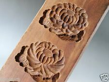 ANTIQUE JAPANESE KASHIGATA Wooden Hand Carved Cake Mold KIKU Flower Mum w/ Cover