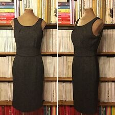 Smart HOBBS grey fitted sheath pencil dress UK 10 office formal sleeveless knee