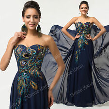 PEACOCK LONG BALL GOWN CHIFFON EVENING COCKTAIL BRIDEMAID PROM DRESS (SIZE 18)