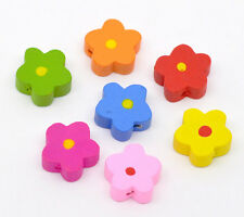 100 Mixed Multicolor Cute Flower Wood Beads 15x15mm