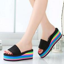 Women Sandals Rainbow Non-Slip Platform Wedge Summer Flip Flops Slippers 38@