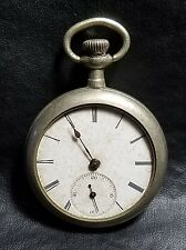ANTIQUE SWISS MOVEMENT 1880-90's POCKET WATCH ILLINOIS WATCH CASE NICKEL SILVER
