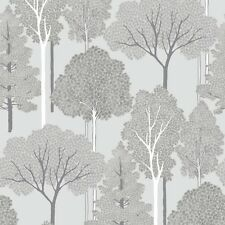 Ellwood Silver Trees Wallpaper Silver Glitter by Arthouse 670002