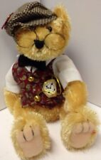 """12"""" handcrafted Fully Jointed ' Bentley : The Bear Of Wealth' Brass Button Bear"""