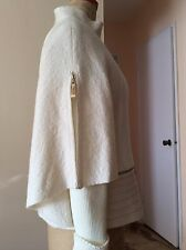 Gorgeous Ladies BRAND NEW Paneled Boiled Wool/ Knit Zip CAPE Jacket Size L