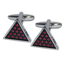 Red & Silver Triangle Snooker Cufflinks With Gift Pouch Pub Game Pool Balls