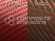 "Reversible Carbon Fiber/ Red Kevlar Cloth Fabric 3x1 Twill 50"" 3k"