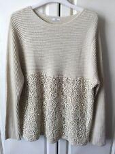 Cotton Traders Size 22/24 Cream Coloured Lace Jumper. Worn