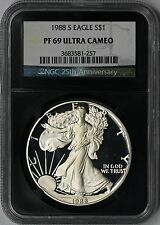 1988-S Silver Eagle PF 69 Ultra Cameo $1 NGC *Black Retro Slab* 25th Anniversary