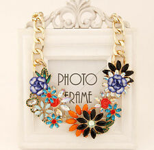 Fashion Women Lady Mixed Style Chain Crystal Flower Bib Big Statement Necklace