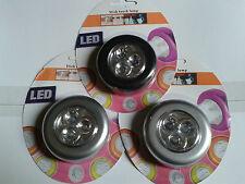 3X Lampes a 3 Led Spot Tactiles Sans Fil Puissantes Adhésives Autocollantes