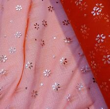 Red Tulle with Silver Foil Flowers Fabric *Per Metre