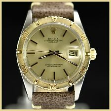 VINTAGE ROLEX THUNDERBIRD 1625 DATE TURN O GRAPH 18K BEZEL SS CASE MENS WATCH