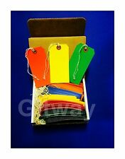 "100 Tags 4 3/4"" x 2 3/8"" Size 5 Colored Inventory Shipping Hang Tag with String"