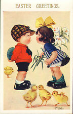 arthur butcher card from the 1930s. easter greetings ! boy & girl kissing