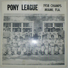 ANTIQUE ORIGINAL PONY LEAGUE BASEBALL TEAM PHOTO 1958 CHAMPS MIAMI FLORIDA