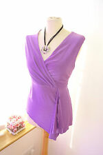 New! Very Pretty Ladies Kaliko Purple Stretch Fixed Wrap Frill Top - UK Size 16