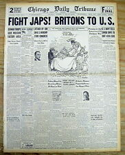 1941 WW II hdlne newspaper Great Britain warns US to FIGHT JAPAN b4 PEARL HARBOR
