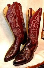 Justin Teju Lizard Skin Western Cowboy Riding Boots Womens 10.5 D Made in USA
