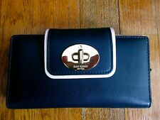 KATE SPADE MIDNIGHT LEATHER HAMPTON ROAD TURNLOCK STACY NAVY BLUE WALLET