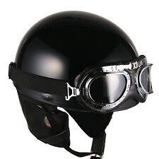 [ Black ] Vintage Goggle Helmets Scooter Half Face Motorcycle Motorbike