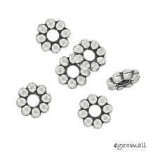 10 Antique Sterling Silver Daisy Rondelle Spacer Beads 6mm  Hole 2.0mm #99277