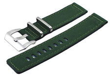 Italian Design Quality Textile Canvas 22mm Army Green Replacement Watch Band