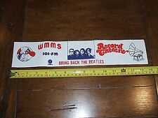Vintage RARE 1974/1975 Bring Back The Beatles Bumper Sticker WMMS Record Theatre