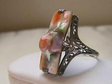 VINTAGE 925? ORNATE FILIGREE TALL BLISTER PEARL RING SIZE 8~PEACH GREEN & WHITE