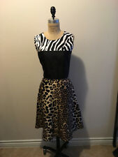 Rodarte Size 10 Black White Brown Animal Print  Silk Dress