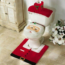Santa Toilet Seat Cover + Tank Cover + Rug Bathroom Mat Christmas Decorations