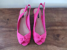 Ladies ALDO CALICOTT Pink Textile Wedge Slingback Peep Toe UK 7 EU 40 RRP £50