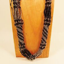 "37"" Long MultiStrand Handmade Black Silver Seed Bead Woven Statement Necklace"
