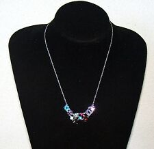 HK COLLECTION STERLING SILVER MULTI GEMSTONES NECKLACE