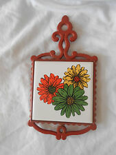 Vintage CHERRY Cast Iron Ceramic Tile Trivet Made in Japan Floral Design
