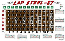 Lap Steel Guitar Fretboard Wall Chart Poster E7 Tuning Notes Rolls Chords
