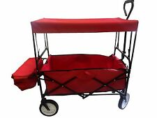 FOLDING WAGON W/CANOPY GARDEN UTILITY TRAVEL COLLAPSIBLE CART OUTDOOR YARD HOME