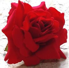 Red Rose Silk Flower Hair Clip 4 Inches Handmade Prom Pageant Bridal Wedding