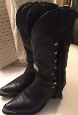 "Harley Davidson  Fringe Western Cowboy ""Sexy"" Boots Women's Size 7.5 Excellent"
