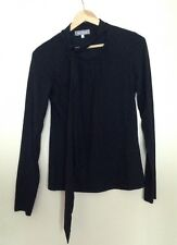 maxMara black Silk And Cashmere long sleeve top with tie detail M 8 10 12
