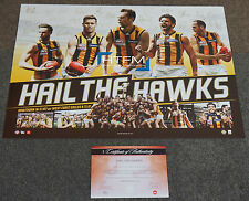 Hawthorn 2015 Premiers AFL Signed Sportsprint ONLY THREE PEAT CYRIL RIOLI HODGE