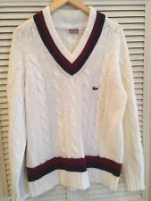 Vintage IZOD Lacoste White Cable Knit Tennis Sweater Large V-Neck Alligator Prep