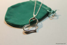 -UK- Beautiful 925 Sterling Silver Heart Pendant Necklace 18 Inches (058)