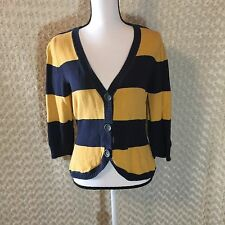 Aeropostale Button Up Striped Cardigan  Blue Yellow Size Large Juniors Casual