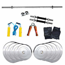 Fitfly Home Gym Set 10 kg Steel Weight+4ft Plain Rod+Skipping+Dumbbells+Gloves
