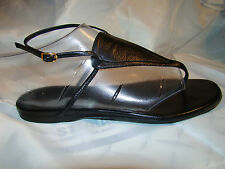 pre-owned authentic HERMES black calfskin GLADIATOR SANDALS ladies size 38