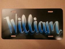 Airbrush Custom License Plate Car Tag Personalized Name Blue William Decal