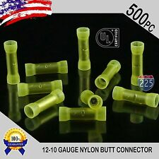 500 Pack 12-10 Gauge Wire Butt Connectors Yellow Nylon 12-10 AWG Crimp Terminals